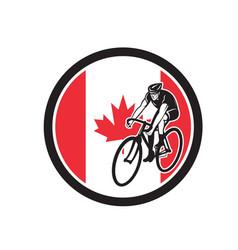 Canadian cyclist cycling canada flag icon vector