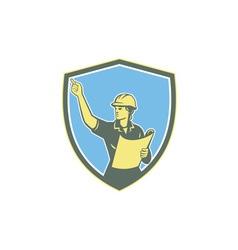 Female construction worker engineer shield retro vector