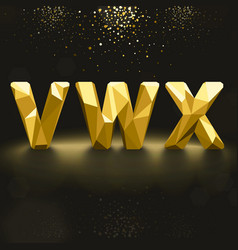 Golden Lowpoly Font from V to X vector image