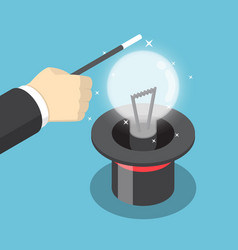 isometric businessman hand use a magic trick to vector image