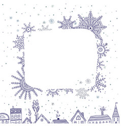 merry christmas frame for text with houses in vector image vector image
