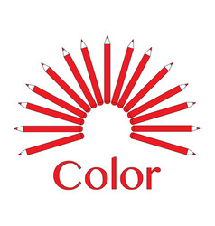 red pencil set vector image vector image