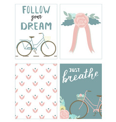 set of cards with bikes and lettering vector image vector image