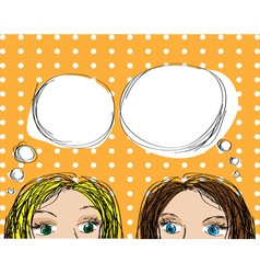 two girls popup style vector image vector image