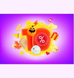 10 percent halloween discount banner vector