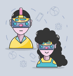3d eyeglasses virtual experience game vector