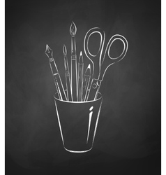 Artistic tools in holder vector image