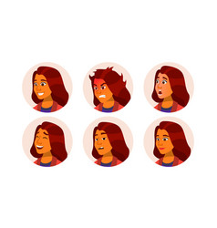 avatar icon woman comic emotions flat vector image