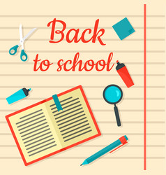 back to school notebook background flat style vector image