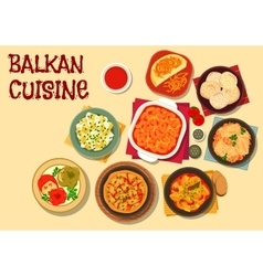 Balkan cuisine vegetarian dinner icon vector
