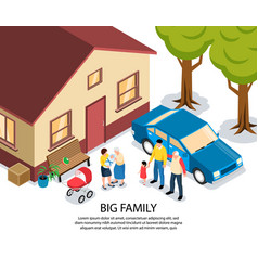 big family isometric vector image