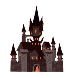 Black castle abandoned holiday halloween vector