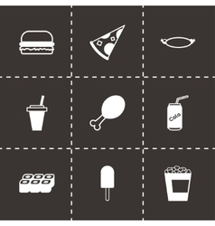 Black fastfood icon set vector