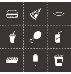 Black fastfood icon set vector