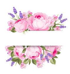Blooming spring flowers garland vector