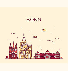 bonn skyline north rhine westphalia germany vector image