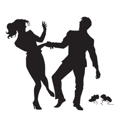 Businessman and businesswoman dancing black vector