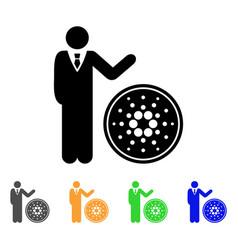 Businessman show cardano coin icon vector