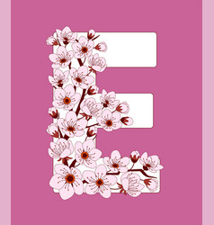 Capital letter e patterned with cherry blossom vector