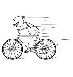 cartoon of man riding fast on bicycle vector image