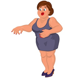 Cartoon young fat woman in gray dress disgusted vector