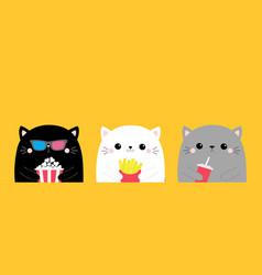 Cat set popcorn french fries soda cute cartoon vector
