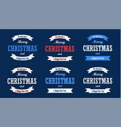 christmas text white ribbon set merry vector image