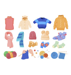collection comfortable knitted things vector image