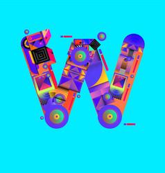 Colorful alphabet font letter w for logo vector
