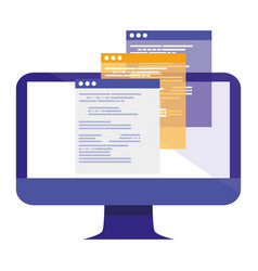 Computer with webpages templates vector