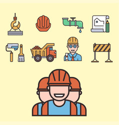 Construction linear icons universal vector