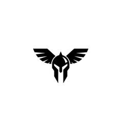 creative spartan viking helmet wing logo vector image