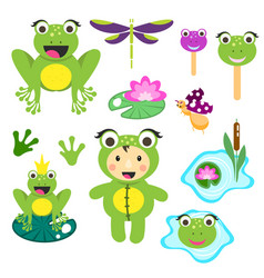 Cute cartoon frog clipart set funny frogs vector