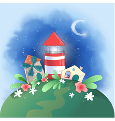 cute cartoon small town lighthouse mill and house vector image