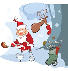 Cute Santa Claus Golfer vector