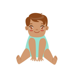 cute smiling baby boy sitting colorful cartoon vector image