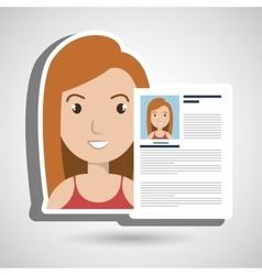 Cv resume woman icon vector