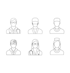 Doctors and Medical Staff Set Thin Line vector image