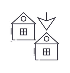 Duplex house icon linear isolated vector
