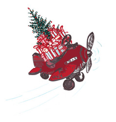 festive christmas card red airplane with fir tree vector image