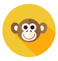 Flat Design Monkey Circle Icon vector