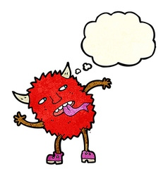 funny cartoon monster with thought bubble vector image vector image