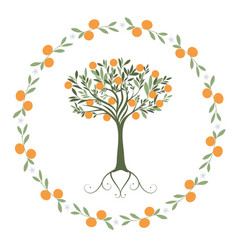 Garland of leaves oranges and orange blossoms vector