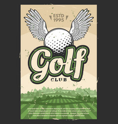 golf club poster with winged sport ball vector image