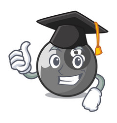 Graduation billiard ball character cartoon vector