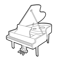 Grand piano icon outline isometric style vector