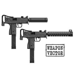 graphic detailed uzi submachine gun with silencer vector image