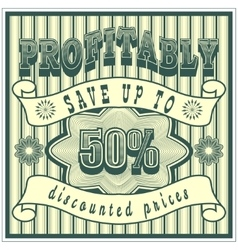 Green grunge retro vintage sale background with vector image