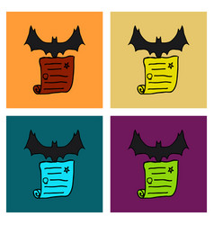halloween scene cute bat flying poster or card vector image
