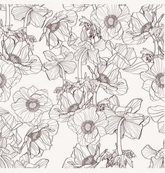 Hand drawn line beige anemone flowers vector